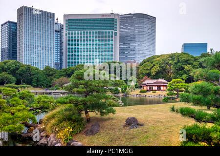 Hamarikyu (auch Hama Rikyu) Ältesten japanischen Garten und modernen Wolkenkratzern von Shiodome, Chuo Bezirk, Tokyo, Region Kanto, Insel Honshu, Japan - Stockfoto