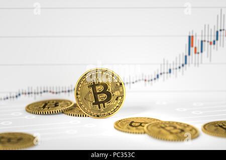 3D-Rendering von einigen bitcoin Münzen auf einer Karte Hintergrund - Stockfoto