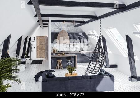 Loft Im Dachgeschoss Kche Interieur 3D Rendering Konzept