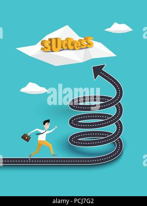 Kreative Konzept der Karriere oder Weg auf der Spirale Weg zum Erfolg. Geschäftsmann, der zum Erfolg. Vector EPS 10. - Stockfoto