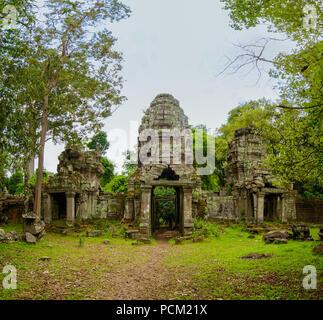 Preah Khan Tempel Eingang in Angkor, Siem Reap, Kambodscha. - Stockfoto