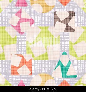 Gewebe mit geometrischen Formen. Vintage Textur vektor Illustration. Rhombus, Quadrat, Dreieck und Kreis. Bunte Tapeten. - Stockfoto