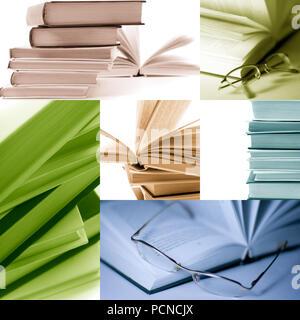 Collage von Bildern. Stapel Bücher closeup. monochrom. - Stockfoto