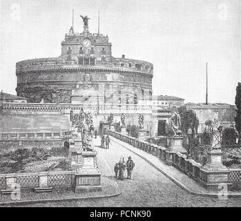 Mausoleum des Hadrian, in der Regel in Castel Sant'Angelo, Schloss der Heiligen Engel bekannt, ist eine sehr hohe zylindrische Gebäude im Parco Adriano, Rom, Italien, digital verbesserte Reproduktion einer historischen Bild aus dem Jahr 1885 - Stockfoto