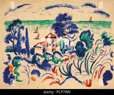 Landschaft mit Segelbooten, 1913-1914. - Stockfoto