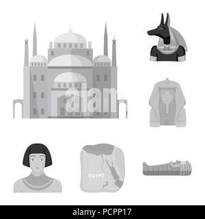 Das alte Ägypten monochrome Icons im Set Sammlung für Design. Die Herrschaft des Pharao vektor Symbol lieferbar Abbildung. - Stockfoto