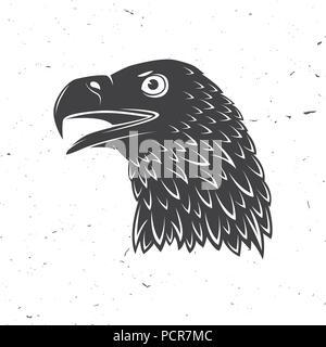 Leiter der Steinadler. Vector Illustration. Vogel, Symbol der Mächtigen, Stolz, Freiheit und Unabhängigkeit. Golden Eagle Silhouette auf weißem Hintergrund. - Stockfoto
