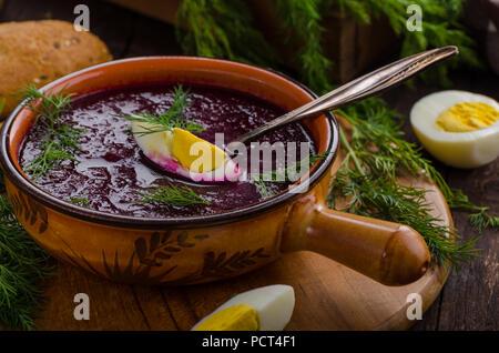 Rüben Suppe mit Käse und Kräutern, delish Suppe, Essen Fotografie - Stockfoto