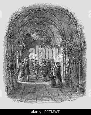 """Queen Elizabeth Zeughaus in der Tower von London, England. Die ehemals spanische Rüstkammer"""", wurde das Gefängnis von Sir Walter Raleigh. Es wurde ein Verwahrer der mittelalterlichen Waffen. Am Ende des Raumes ist ein Porträt der Königin auf einem weißen Pferd auf ihrem Weg zu einer Danksagung an die St Paul's Kathedrale für den erfolgreichen Ausgang der Spanischen Armada. - Stockfoto"""