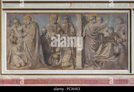 Erbaut von Ernst Zwirner, Fresko an der Ostwand des südlichen Querhauses - Stockfoto