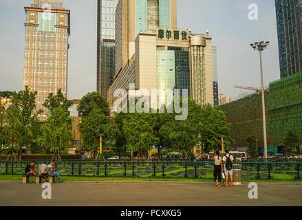 Chengdu, China - 20.August 2016. Stadtbild von Chengdu, China. Chengdu ist die Hauptstadt der Provinz Sichuan im Südwesten Chinas. - Stockfoto