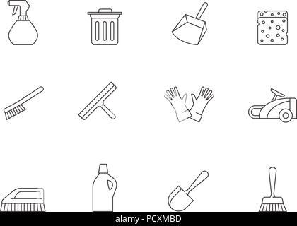 Umrisse Symbole - Reinigung von Werkzeugen - Stockfoto
