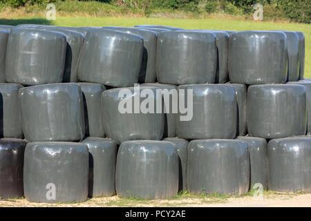 Gestapelte runde Silageballen in Schwarz und Grau Film später für die Ernährung von Vieh genutzt werden. - Stockfoto