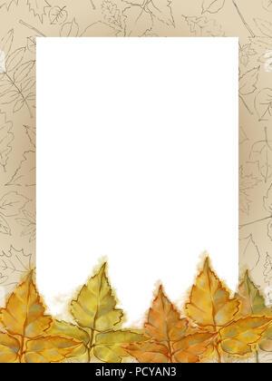 Herbstliche Vorlage mit Zeichnung gemusterten Rahmen und gelbe Blätter. Gerahmte Text kopieren Raum dekoriert mit Aquarell und Zeile verlässt. - Stockfoto