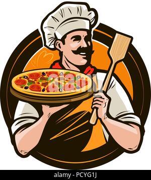 Eine Pizzeria, ein Fast-food-Logo oder Label. Happy Chef holding Pizza und Schulterblatt in Händen. Vector Illustration - Stockfoto