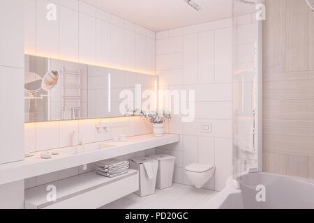 3d-Abbildung in weißen Farben ohne Texturen. Die Gestaltung des Innenraums ein modernes Bad mit großem Spiegel. 3D-Render in hoher Auflösung für den Druck - Stockfoto