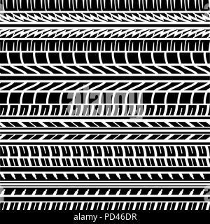 Nahtlose schwarze Reifen Spur Hintergrund mit verschiedenen Elementen - Stockfoto