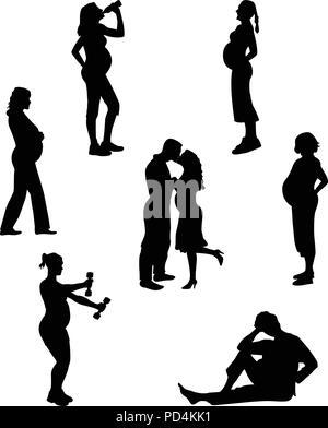 Silhouetten von schwangeren Frauen - Stockfoto