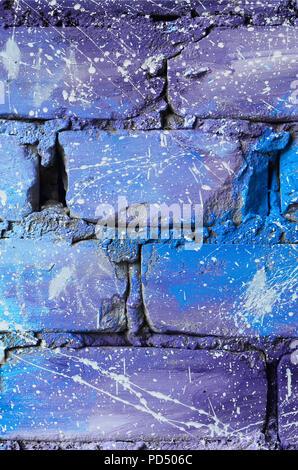 Perfect ... Die Struktur Der Alten Mauer, In Blau Und Lila Farben Mit Achtlos  Spaced Weißen Tropfen