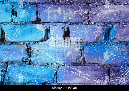 Lovely Die Struktur Der Alten Mauer, In Blau Und Lila Farben Mit Achtlos Spaced  Weißen Tropfen