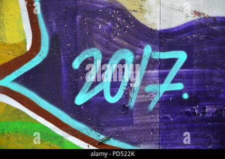Street Art. Bunten Graffiti an der Wand. Fragment für Hintergrund. Abstrakte Detail eines Graffiti - Stockfoto