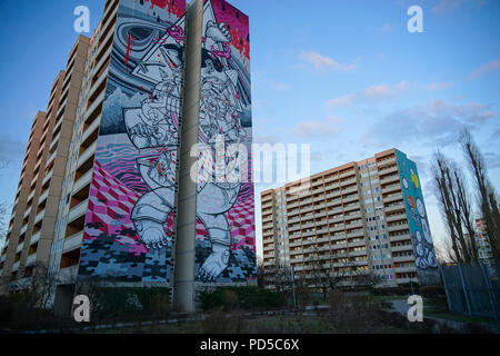 Berlin Tegel Bernauer Str. Graffiti Urban Nation Museum - Stockfoto