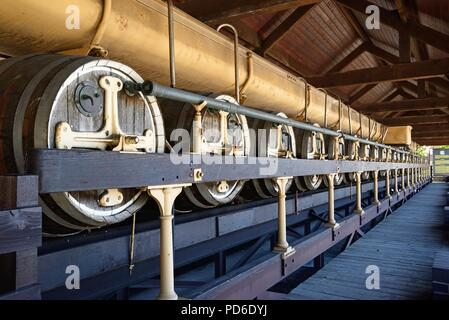 Gärung Behälter und Fässer an der Nationalen Brauerei Center, Burton upon Trent, Staffordshire, England, UK, Westeuropa. - Stockfoto