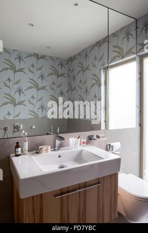 Haus innen Badezimmer Waschtisch mit Spiegel und Waschbecken mit ...