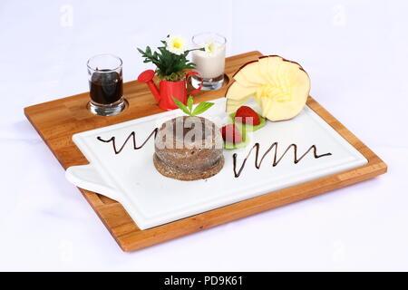 Hausgemachte Schokolade Lava Kuchen Dessert, Fondant Lava Kuchen - Stockfoto