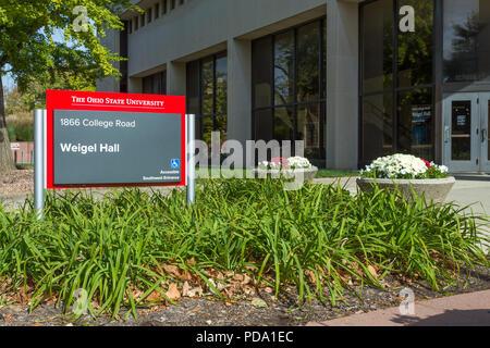 COLUMBUS, OH/USA - 21. OKTOBER 2017: Weigel Halle auf dem Campus der Ohio State University. - Stockfoto