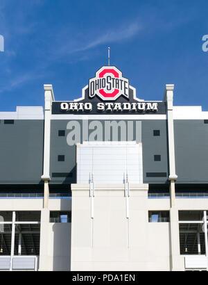 COLUMBUS, OH/USA - 21. OKTOBER 2017: Ohio Stadium auf dem Campus der Ohio State University. - Stockfoto