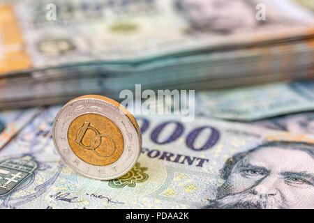 Ungarn 100 Forint Münze Hochkant Auf 20000 Forint Banknoten