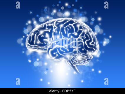 Menschliche Intelligenz Konzept mit Glanz und blauem Hintergrund - Stockfoto