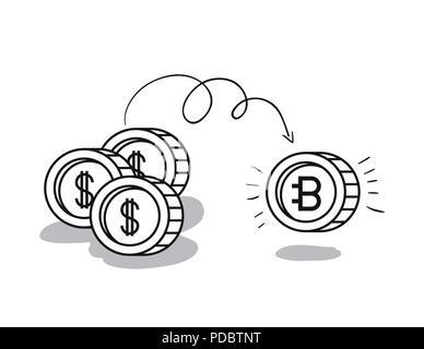 Bitcoin Mining Symbole gesetzt - Stockfoto