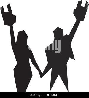 Silhouette einer Kerl und ein Mädchen mit erhobenen Händen mit Hörnern - Stockfoto