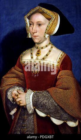 Jane Seymour (um 1509-1537 von Hans Holbein (der Jüngere) Deutscher Deutschland Jane Seymour mit dem Englischen König Henry VIII (1491 - 1547) als Herrscher verheiratet. Zwischen der Ehe des Paares am Ende Mai 1536, die von Jane's Proklamation an die Königin ein paar Tage später folgte und der frühe Tod des noch nicht dreissig Jahre alt, im Oktober 1537. - Stockfoto