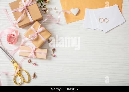 Hochzeit Einladungen Vorbereitung Flach Und Blick Von Oben Auf Die