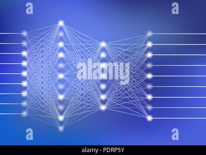 Tiefe neuronale Netz Vector Illustration mit dunkelblauem Hintergrund für Künstliche Intelligenz - Stockfoto