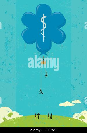 Steigende Kosten der Gesundheitsversorgung. Die Menschen sehen, die steigenden Kosten der Gesundheitsversorgung als ein Heißluftballon in den Himmel steigen. - Stockfoto