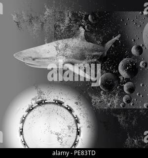 Schwarze und weiße abstrakte Collage. Tropen, Konzept. Der Hai taucht aus den dunklen Abgrund - Stockfoto