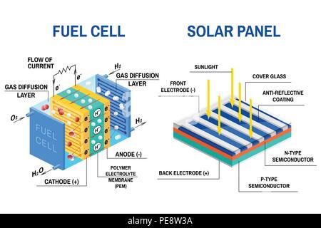 Brennstoffzelle Diagramm. Vektor. Gerät, das wandelt chemische ...
