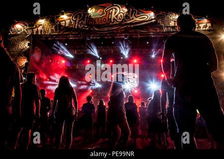 Kostrzyn nad Odra, Polen, 4. August 2018, Woodstock Polen Rock Festival Besucher - Stockfoto