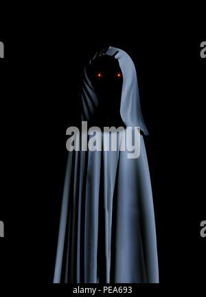 Gruselige Monster in mit Kapuze Umhang mit glühenden Augen. Auf schwarzem Hintergrund. 3D-Rendering - Stockfoto
