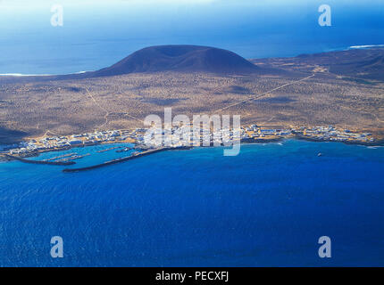 Insel La Graciosa, Blick von El Mirador. Chinijo Inseln, Kanarische Inseln, Spanien. - Stockfoto