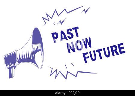 Wort schreiben Text Vergangenheit Zukunft. Business Konzept für letzte Zeit folgende Aktionen Schicksal Erinnerungen Lila Megaphon Lautsprecher wichtig mich - Stockfoto