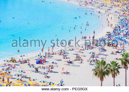 Strand von Amadores, Puerto Rico, Gran Canaria, Kanarische Inseln, Spanien - Stockfoto