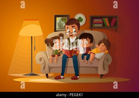 Großvater mit Enkel auf einem gemütlichen Sofa mit dem Buch, lesen und erzählen Buch märchen geschichte. Die Jungen und Mädchen auf ihn sollt ihr hören. Vektor Cartoon Illustration. Gemütliche Abend. - Stockfoto
