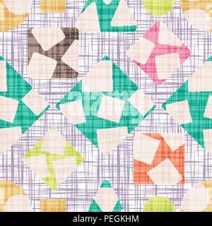 Retro Design Gewebe mit geometrischen Formen. Vector Illustration. Rhombus, Quadrat, Dreieck und Kreis - Stockfoto