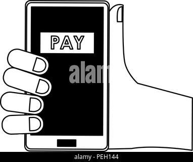 Hände online Zahlung aus dem Smartphone in Schwarz und Weiß - Stockfoto