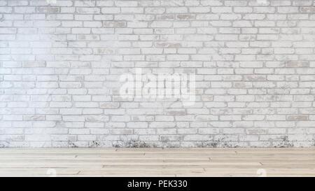 Schmutzig weiße Wand im Zimmer mit beige Hartholzboden und kein Volk sichtbar. Mit kopieren. - Stockfoto